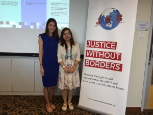 Our Singapore Pro Bono Officer Ms. Tammie Koh with Ms. Eva Chow, Senior Assistant Director of the Department of Medical Social Work at the National University Hospital.